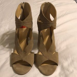 Nude Beige Tan Vince Camuto Cut Out Heels